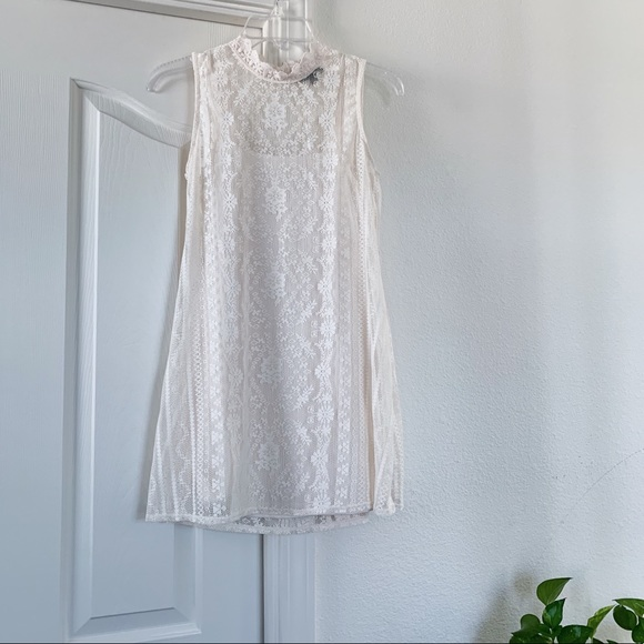 Nordstrom Whitecream Lace Tank Dress
